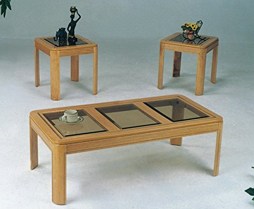 Maison Furniture 3 PC oak coffee/tea table set with glass top insert