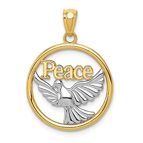 - Sonia Jewels 14k Yellow & White Two Tone Gold Polished Peace Dove Pendant (21mm Height x 18mm Width)