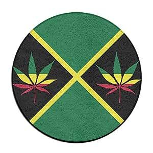 Bandera de Jamaica Weed Leaf antideslizante alfombrillas Circular alfombra alfombrillas comedor dormitorio alfombra Felpudo 23.6pulgadas