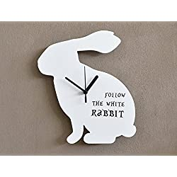 Follow the White Rabbit - Wall Clock
