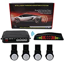 KIPTOP Wireless LED Display Auto Rear Reverse System with Car Vehicle Reverse Backup Radar System with 4 Alert Parking Sensors for All Cars(Silver)