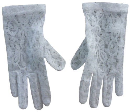 N'Ice Caps Girls Stretch White Special Occasion Parade Gloves (6-10yrs, White Lace)]()