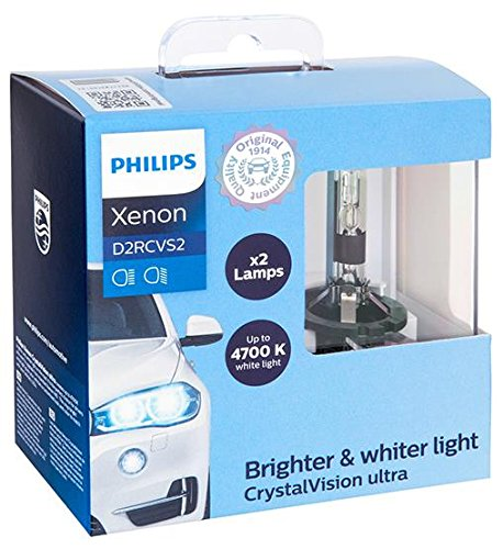 Philips D2R CrystalVision ultra Authentic Xenon HID Headlight Bulb, 2 Pack