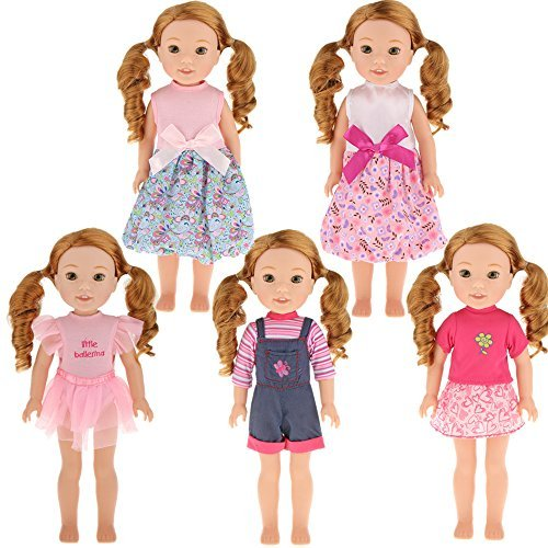 5pcs Doll Clothes fit for 14 inch 14.5inch Doll American Girl Wellie Wishers Cute Dresses