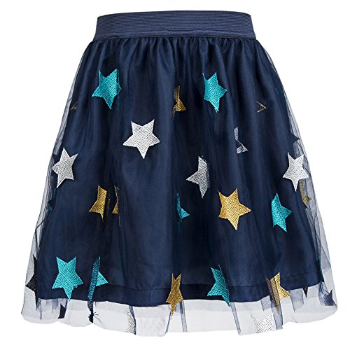 Benito & Benita Girls Tutu Skirts Tulle Princess Dress Fluffy Ballet Skirt Layered Bubble Skirt (Big Mini Skirt Star)