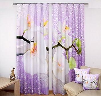 Gardinen  Set Zita Gardinen Orchidee Modern 3D Effekt Vorhänge Orchidee  Raumteiler Schals   2 Schals