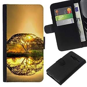 LECELL--Cuero de la tarjeta la carpeta del tirón Smartphone Slots Protección Holder For Samsung Galaxy Core Prime -- Árbol del resplandor del Sol --