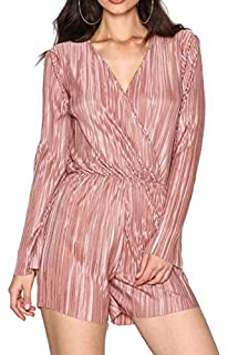 6434d29e8f82 Re Tech UK Ladies Pleated Metallic Wrap Over Long Sleeve Playsuit Glitter V- Neck Romper