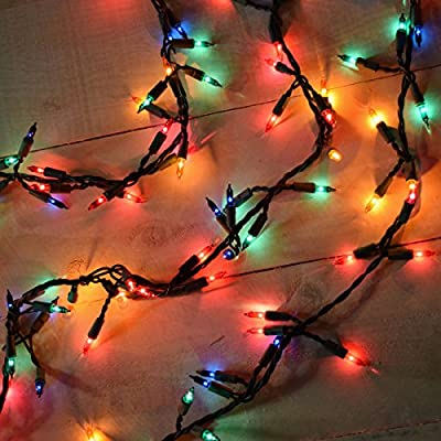 Holiday Essence 100 Multi-Color Christmas Lights with Green Wire – Professional Grade for Indoor/Outdoor Use – Static + Flashing
