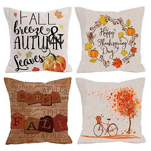 - KACOPOL Autumn Maple Leaves Pumpkin Happy Thanksgiving Throw Pillow Covers Fall Halloween Décor Cotton Linen Happy Fall Y'all Pillow Case Cushion Cover for Sofa 18