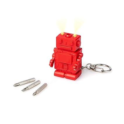 Balvi Llavero Robot Color Rojo con luz con 3 Puntas de ...
