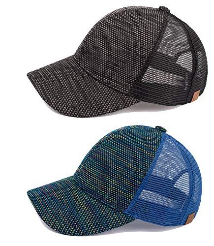 H-6140-2-0657 Trucker Hat 2-Pack Bundle: Tricolor Black & Royal Blue