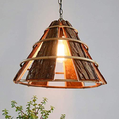 TheMonday Handmade Wooden Restaurant Parlor Pendant Chandelier Fixtures Southeast Asian Rattan Dining Room Ceiling Hanging Lights Lamp Chain Adjustable Suspension Lantern ()