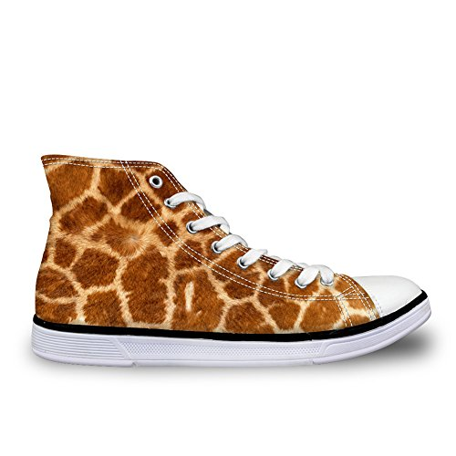 FOR U DESIGNS Stylish Leopard Print Womens High Top Lace up Canvas Fashion Sneaker Yellow 1 7zt9td