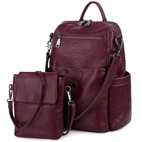 (UTO Women Backpack Purse PU Washed Leather Ladies Rucksack Detachable Crossbody Shoulder Bag B Red)
