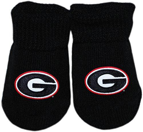 Creative Knitwear UGA University of Georgia Bulldogs College Circle G Logo NCAA Licensed Solid Color Newborn Baby Bootie Sock