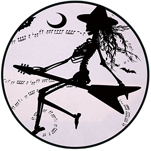 Printing Round Rug,Music,Witch Flying on Electric Guitar Notes Bat Magical Halloween Artistic Illustration Mat Non-Slip Soft Entrance Mat Door Floor Rug Area Rug For Chair Living Room,Black -