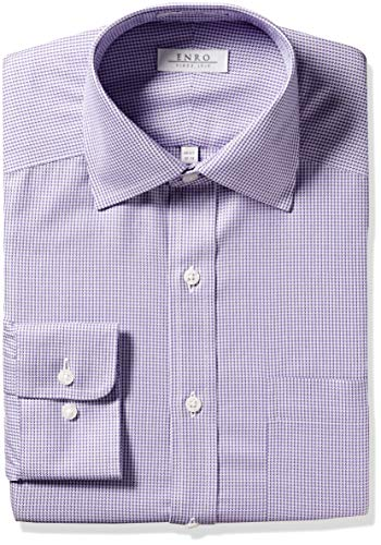 Enro Men's Paddington Houndstooth Non-Iron Classic Fit Dress Shirt, Purple, 150 x 32/33