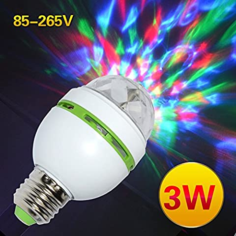 3W Colorful Auto Rotating RGB LED Bulb Stage Light Party Lamp Disco for home decoration lighting (Stages Lx)