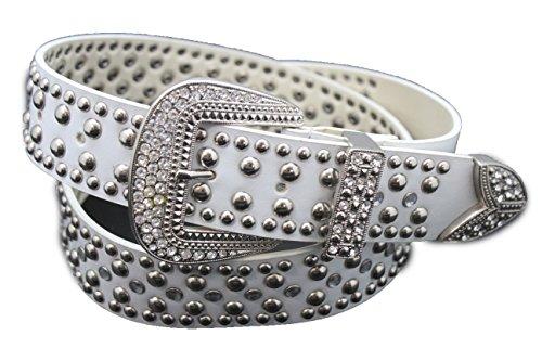 Buckle Cinch Belt (TFJ Women Western Fashion Belt Big Metal Buckle Studs Beaded Rhinestones S M L White (S/m)