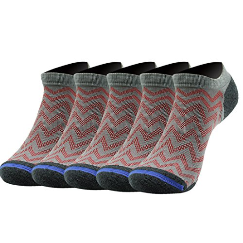 Athletic Coolmax Socks, 5 Pairs Gmark Mens' Ankle Sports Casual Novelty Dry Running Bamboo Fiber Socks Grey