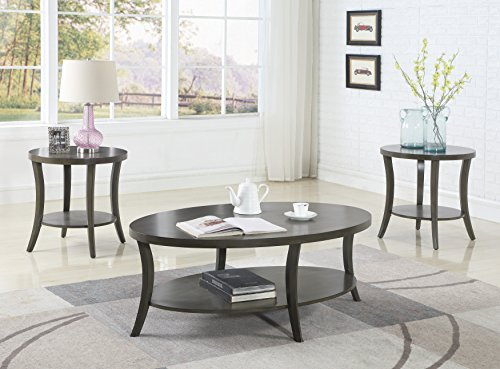 Roundhill Furniture OS0020GY Contemporary Perth Oval Shelf, Coffee Table Set, Grey