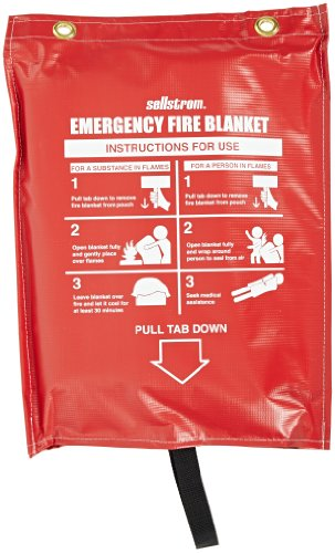 Sellstrom 97450 Fiberglass Emergency High Temperature Fabric Blanket with Red Vinyl Pouch, 6' Length x 5' Width, White