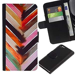 Planetar® Modelo colorido cuero carpeta tirón caso cubierta piel Holster Funda protección Para Apple (4.7 inches!!!) iPhone 6 ( Chevron Watercolor Pastel Tones Pattern )