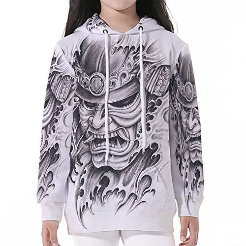 Kid Nation Kids' Sweater Long Sleeve,Kabuki Mask Decoration,Warrior Samurai Draw