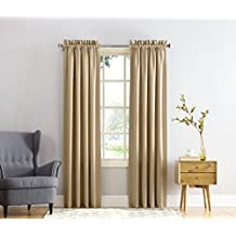 Sun Zero Barrow Energy Efficient Rod Pocket Curtain Panel, 54 x 95 inch, Taupe