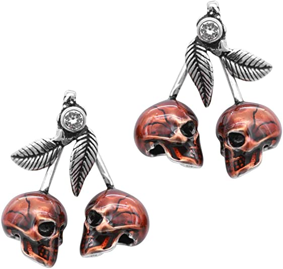 Controse Cherry Skulls Earrings - Adorned with Red Epoxy and 2 White Swarovski Crystals