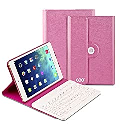iPad Air 1 2 Keyboard, COO Wireless Removable Bluetooth Keyboard Case for Apple iPad Air 1 2 with 360 Degree Rotation and Multi-Angle Stand (Rose Red)