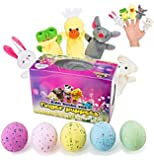 Bath Bombs For Kids With Surprise Toys finger puppet (Set Of 5, 10.2 oz each): Huge Egg Shaped kids Bath bombs With finger puppet toy, organic Bath Fizzies,Moisturizing And relaxing for fun bath