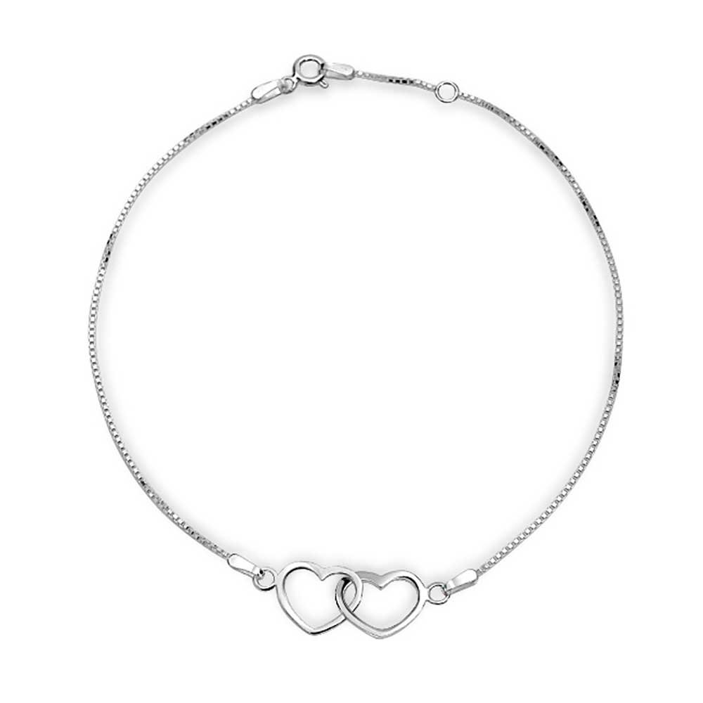 Bling Jewelry Sterling Silver Open Interlocking Hearts Anklet 9in APPL-JA-1207119