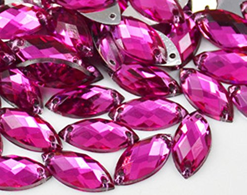 50pcs 7x15mm Flat Back Sew On Rhinestone Crystal Two Holes Beads Stones Decorative Crafts DIY (Rose)