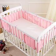 Baby Crib Liner Breathable Nursery Bedding Mesh Liner Baby Crib Bumper by Pueri (Pink)