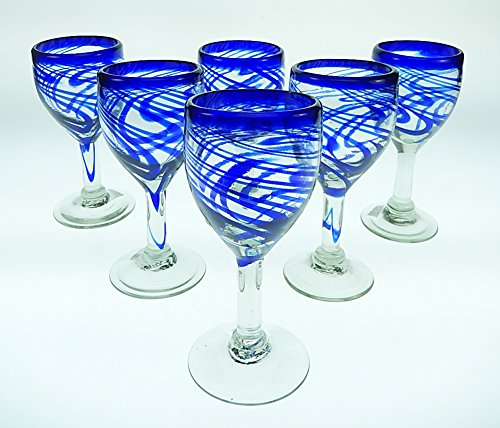 Mexican Glass, Wine, Hand Blown, Blue Swirl (Set of 6) 11 ()