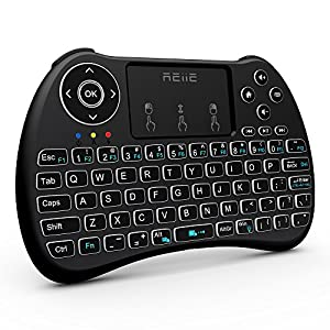 (2018 Backlit Version)REIIE H9+ Backlit Wireless Mini Handheld Remote Keyboard with Touchpad Work for PC,Raspberry Pi 2, Android TV Box ,KODI,Windows 7 8 10