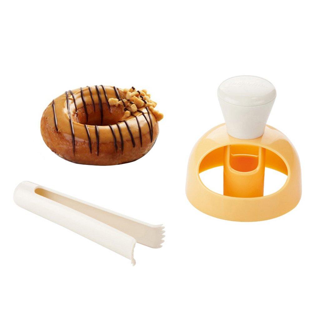 BESTONZON Stampo per ciambella, torta di plastica per dolci da forno Ciambella per dolci ciambella per dolci fai da te con pinze per immersione e film stampato (2 pezzi / set)