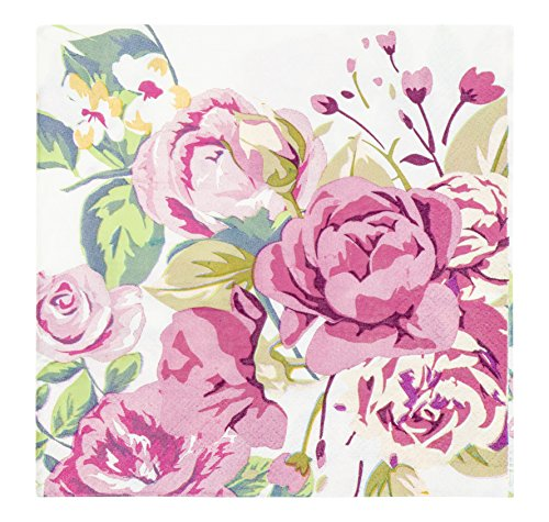 Cocktail Napkins - 150-Pack Luncheon Napkins, Disposable Paper Napkins Vintage Floral Party Supplies for Weddings, Bridal Showers, 2-Ply, Unfolded 13 x 13 Inches, Folded 6.5 x 6.5 Inches
