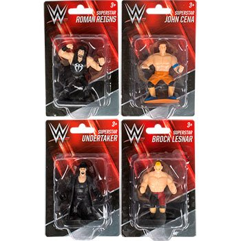 (4 WWE Action figures, Cena, Undertaker, Roman Reigns,)