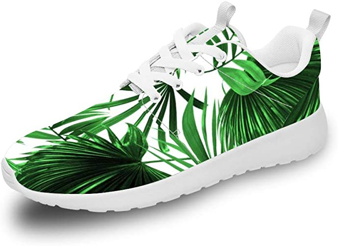 Mesllings Unisex Zapatillas de Running Tropical Rainforest Verde Hojas Sin Costuras Ligero Deporte Moda Zapatos para Exterior: Amazon.es: Zapatos y complementos