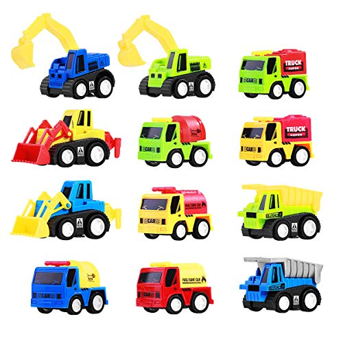 TOYMYTOY Pull Back Vehicles, 12-Pack Mini Construction Vehicles Race Car Toy Trucks for Kids Toddlers Boys Girls Pull Back and Go Car Toy Play Set