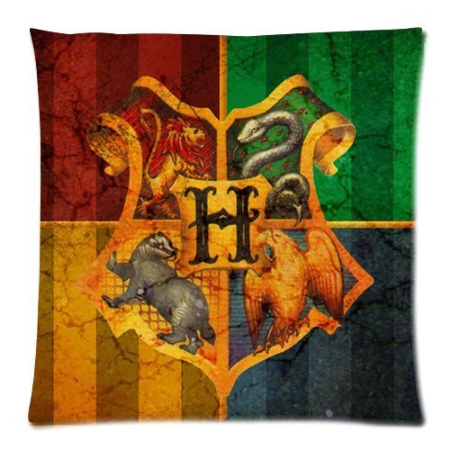 Harry Potter Hogwarts School Sign Gryffindor Ravenclaw Hufflepuff Slytherin Custom Pillowcase Pillow Sham Throw Pillow Cushion Case Cover Two Sides Printed 18x18 Inches (Shams Custom Pillow)
