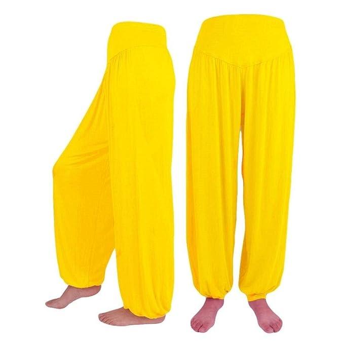 HaiDean Mujer Pantalones Harem Verano Moda Anchas Color Sólido Pantalones  De Linterna Elegantes Cintura Alta Elásticos Modernas Casual Cómodo  Pantalones De ... 1881345deb73