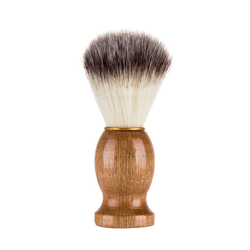 ❤JPJ(TM)❤️ 1pc Men Fashion Professional Shaving Bear Brush Best Badger Hair Shave Wood Handle Razor Barber Tool (Khaki)