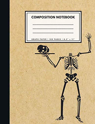 Graph Paper Composition Notebook: CRAZY SKELETON Brown Paper Soft Cover | 1/4 inch squares | Large (8.5 x 11 inches) Letter Size | 100 Square Grid Pages | Blank Quad Ruled Retro Notes