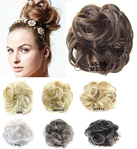 (Girls Updo Donut Hair Bun Synthetic Clip On Chignon Hairpiece Drawstring Ponytail Bun Hair Extensions #M2-30)
