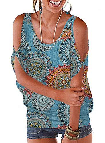 (PINUPART Women's Summer Cold Shoulder Lace up Dolman Shirt Top Medium Blue+Floral)