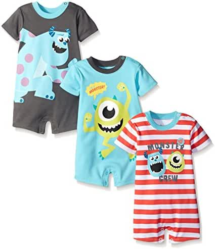 Disney Baby Boys' Monsters Inc Sully and Mike 3 Pack Rompers